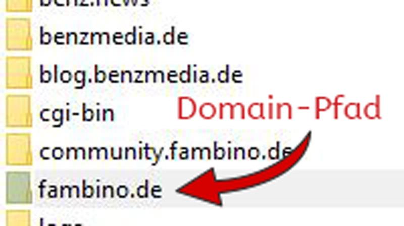 FileZilla Domain Verzeichnis