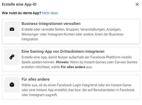Facebook App einrichten